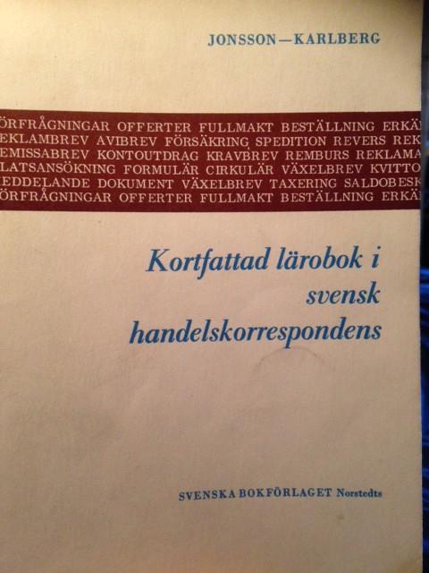 kortfattad larobok i svensk handelskorrespondens